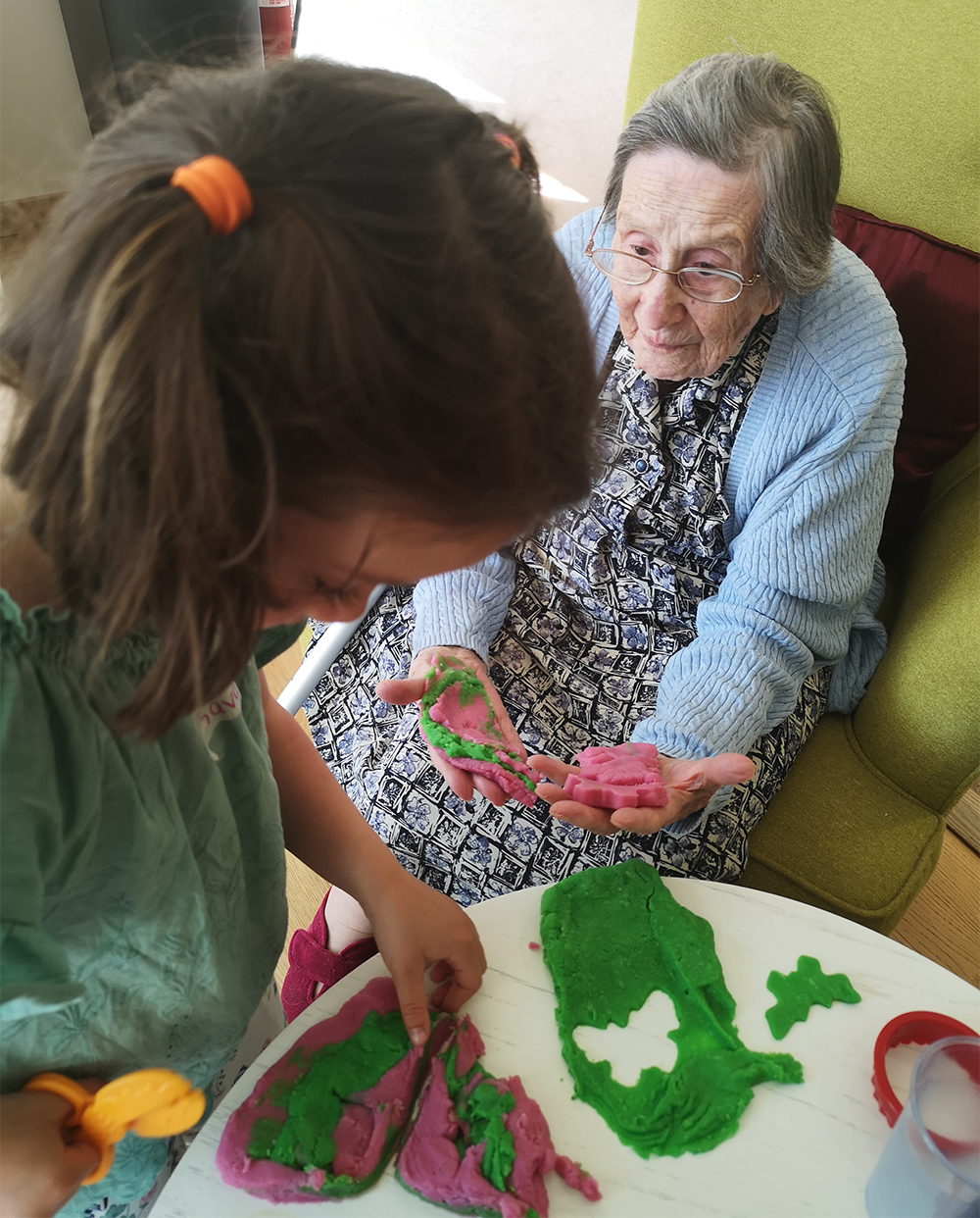 playdoh with old lady